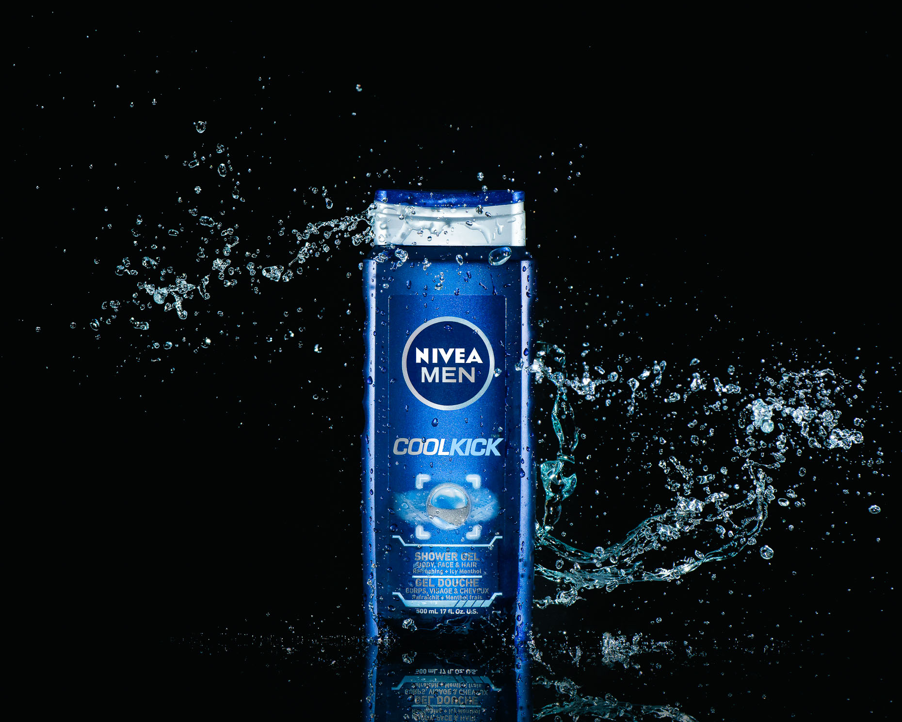 Nivea Cool Kick Shower Gel - Christophe Benard Photography - Edmonton Commercial Photographer, Edmonton Commercial Photography, Edmonton Product Photographer, Edmonton Product Photography, Still Life Photographer in Canada, Product Photographer in Canada